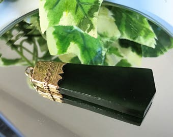 A Stunning Large Antique Victorian Yellow Metal Mounted Spinach Green Jadeite Pendant C. 1890