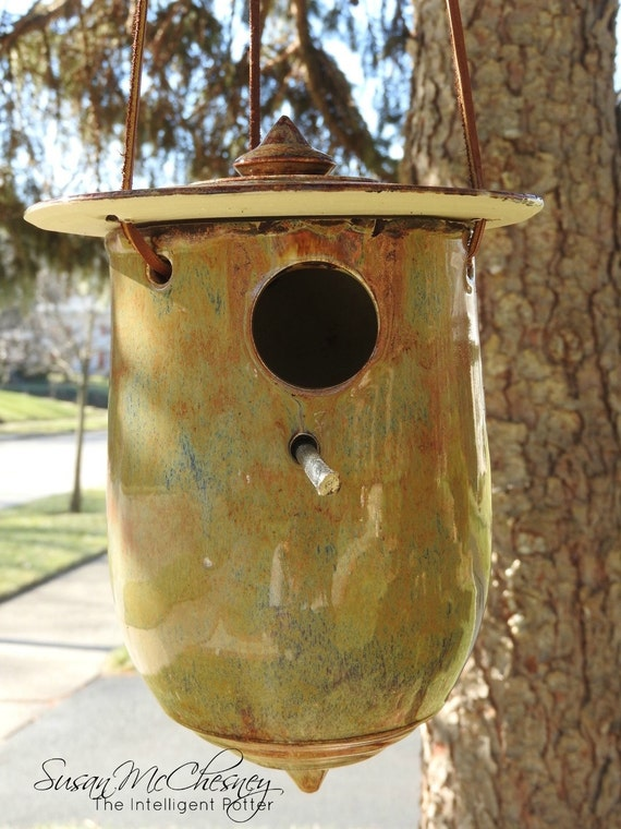 Handcrafted Two Piece Large Earth Toned Birdhouse Perfect for Housewarming, Hostesss or Gift for Oneself