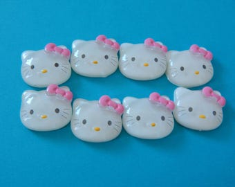 Resin Cabochon Cat Pink Bow Kitty Yellow Nose Flatback For Crafts Set of 8 24mm