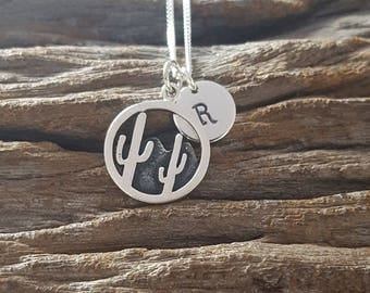 Sterling Silver Cacti Necklace, Arizona Cactus, Personalized Necklace, Journey Necklace, Birthday Gift, Mother's Gift