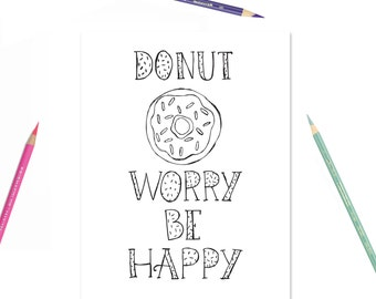Donut Coloring Page Etsy