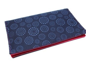 door in blue cotton fabric checkbook