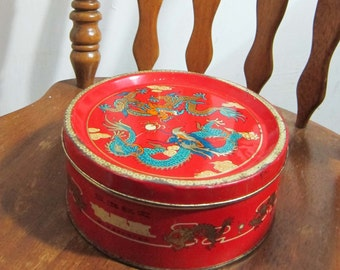 60's Chinese Gift box Cake box Dragon Tin