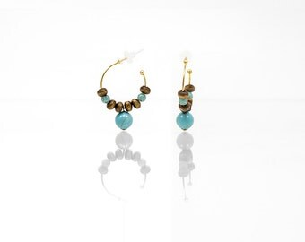 Hypoallergenic Silicone Turquoise and Wood Earrings