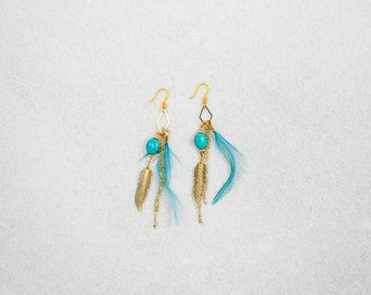 Hypoallergenic Turquoise with Feather Earrings