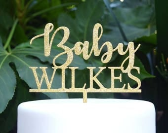 Baby Name Cake Topper Custom Personalized - Baby Shower Cake Topper - Baby Boy Baby Girl Cake Topper
