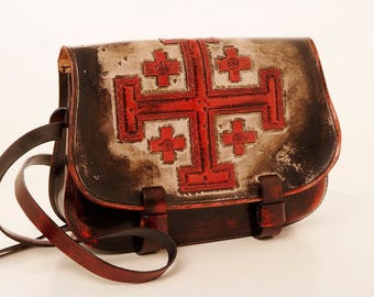 Temple Knight leather hand bag