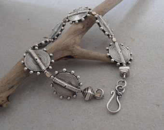 Hand-Made Ornate Silver Coin Bead Bracelet - 925 Silver