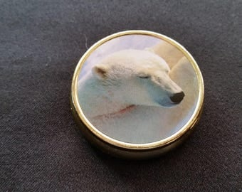 Gold Tone Pill Box with Polar Bear Lid