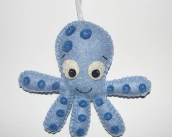 Wool Felt Octopus Ornament, Blue Octopus, Baby, Nursery Decor, Wall Decor, Sea Animal, Gift, Handmade, Octopus Felt Ornament