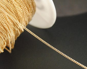 16Ft KC Gold Chains, Chunky Curb Chains, 1mm Twist Chains, Gold Filled Chains.