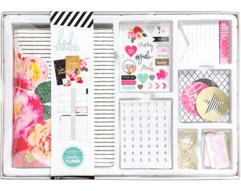 Sale! 2017 Heidi Swapp Memory Personal Planner Box Kit - 12-Month Non-dated Floral Planner Kit/Paper Clips/Note Pads/Stickers