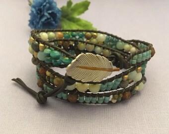 Amazonite and Picasso Czech Beaded Gemstone Brown Leather 3 times Wrap Bracelet - Gemstone Wrap Bracelet - Leaf Button Beaded Bracelet