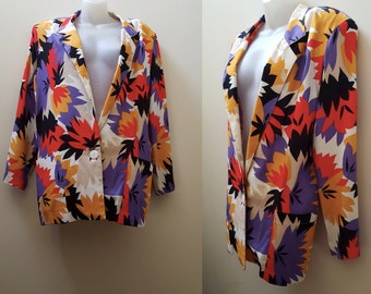 1980s Blazer / 80s Leaf-Print Multi Color Blazer