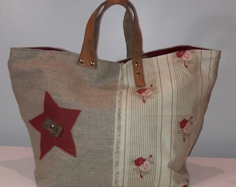 Purse, Tote, linen, leather, printed cotton, red, Star, and leather handles in old straps of the French army