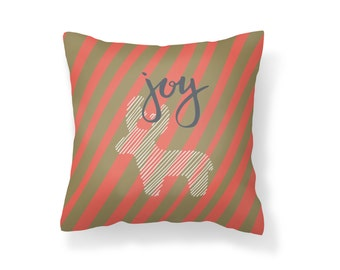 Throw Pillow Joy, Deer Pillow, Decroative Pillow, Christmas Pillow