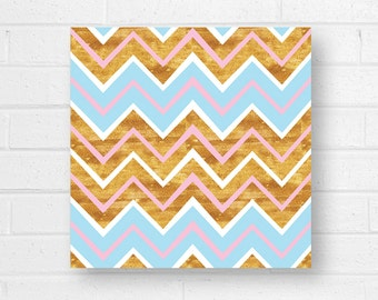 Pink Gold Blue Chevron Canvas Art Print