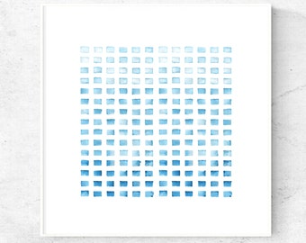 Minimalist blue watercolor art print, downloadable art, modern watercolor painting, 24x24 print, printable wall art, blue art, modern print