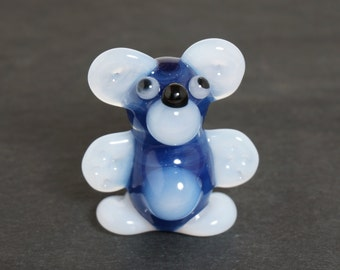 Blue & White Bear Glass Pendant