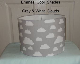 New Handmade Lampshade Grey and White Clouds Drum 20cm 30cm 40cm Bespoke Nursery Baby
