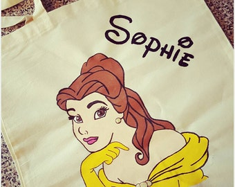 Handpainted beauty and the beast belle canvas tote bag