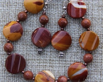 Australian Mookaite Jasper and sandstone bracelet and earrings Mustard Burgundy Brown
