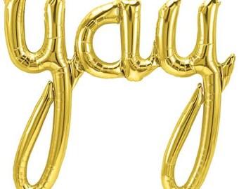 YAY Balloon, Gold YAY Script Banner Balloon, 30 Inch YAY Birthday Banner Balloon, Gold Balloon, Birthday Balloon, Celebration Balloon