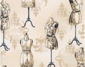 "Robert Kaufman  ""Vintage Couturier"" Cream  Dress Forms  Cotton Fabric"