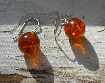 Amber ball earrings on sterling silver french hooks