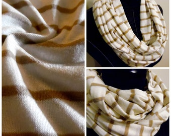 INFINITY SCARF. Cream Stripe on Beige/Tan.Tube Scarf.Circle Scarf.Casual Wear. Scarves.Women Fashion.Accessories.Necklace.Product ID#SC0109