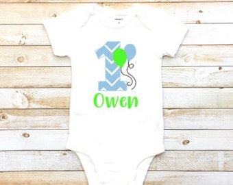 Baby boy's first birthday, number one, personalized bodysuit, first birthday