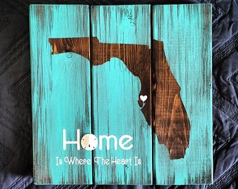 Custom Made Florida Home Wood Sign, Home Is Where The Heart Is, Sand Dollar, Sentimental, Florida Home, State Sign, Gifts Under 50