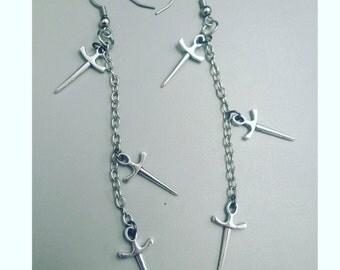 Sword earrings, dangling sword earrings, midevil jewelry, midevil times, swords, mideviljewelry, deadly jewelry, sword jewelry