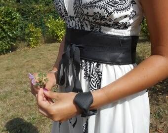Bracelet, retro cuff(headline) leather knots.