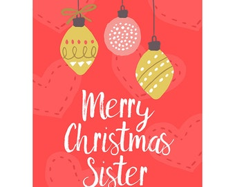 Sister Christmas Card - Baubles Pretty Merry Xmas Sister Blank Card CP3099