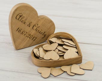 Wedding guest book alternative - heart-shaped wooden box with hearts for the inscriptions - custom photo engraved