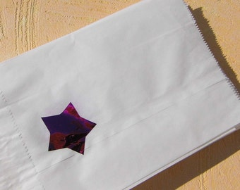 Paper bags Mitgebseltüten bags with star pink red blue silver gift wrap gift bags candy bar paper bags white