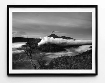 Volcano, Volcano Poster, Volcano Print, Volcano Art, Volcano Photo, Volcano Photography, Nature Art, Nature Photography, Black and White