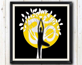 Yoga tree pose with sun digital download/ printable art/ yoga studio decor
