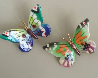 Lovely vintage 2pc handpainted butterfly brooches.
