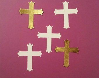 100 Cross Confetti, Baptism Decorations, First Holy Communion, Christening, Easter Confetti, Die Cut Cross, Scrapbooking, Table Confetti,