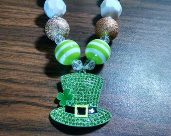 St. Patrick's Day Chunky Girls Bubblegum Necklace.  Shamrock Hat Gumball Necklace