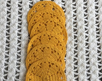Crocheted glass coasters