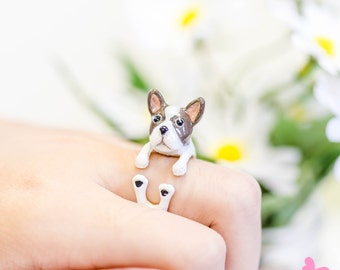 Lovely Cute Hand Painting Enamel french bulldog Ring (Dear Dog Project)
