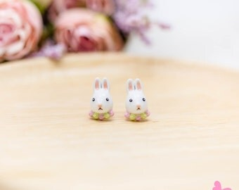 Lovely Cute Hand Painting Enamel Rabbit Puddle Earrings (With Luxury Gift Box from Boutique)