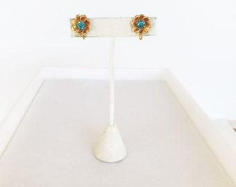 Vintage Bal-Ron Blue Flower 1/20 12k GF Gold Earrings