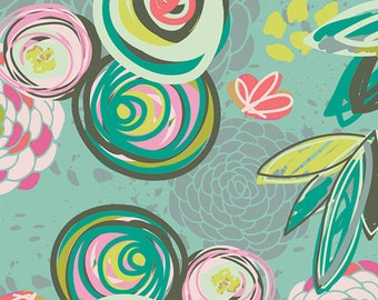 Sprayed Blooms Bright CHP-40020 Art Gallery Fabric Sew Caroline Girl Dress Easter Handmade Quilt Modern Floral Bright Summer Pink Teal Lime