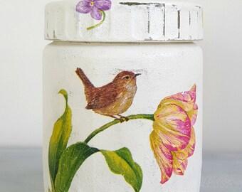 Glass Storage Jar, Decoupage Jar, Decorated Jar, Gift Idea, Free Shipping