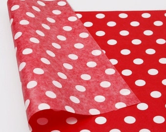 20 red wax paper with white polka dots,wax paper,parchment paper,gift wrapping paper,polka dot wax paper,red wax paper,cute wax paper