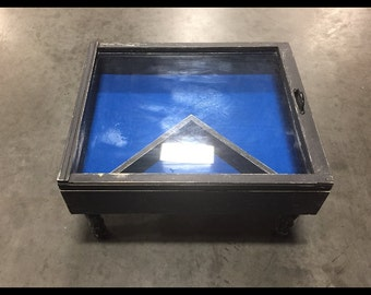 shadow box coffee table - distressed coffee table - storage coffee table - wood window table - military display table - shadow boxes